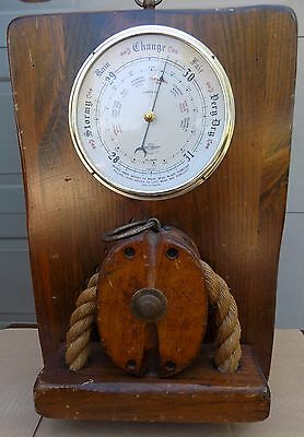 Nautical Barometer  SB Compensated  England  Wood Rope  Gold