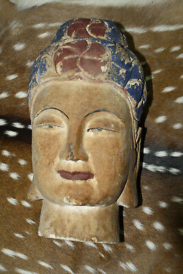 Wooden Antique Style Chinese Carved Wood Painted Buddha Head Statue Home Decor