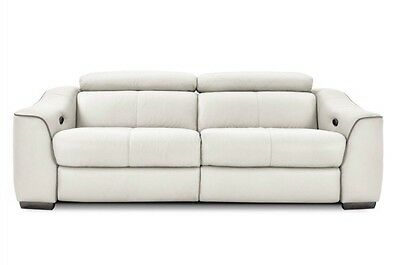 Elixir 3 Seater Power Recliner Sofa White Leather Electric