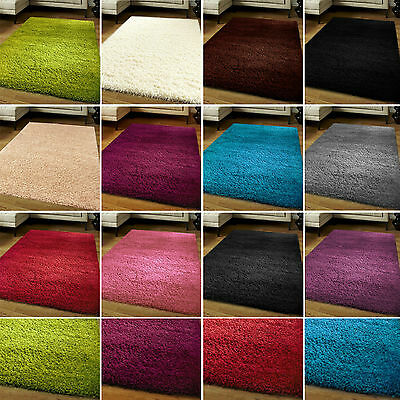 Modern Shaggy Rugs Plain 5cm Thick Soft Non Shed Pile Carpet