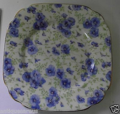 "Royal Albert Square Blue Pansy 6 1/4""  Dessert Or Side Plate"