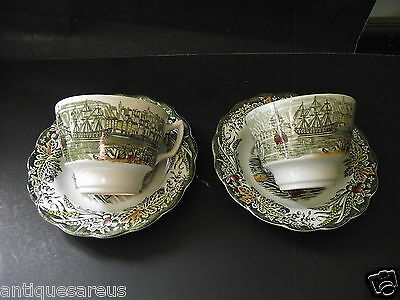 2 Vintage Ridgway English Tea Cup Saucer  Early Canada Heritage Island Of Cedars