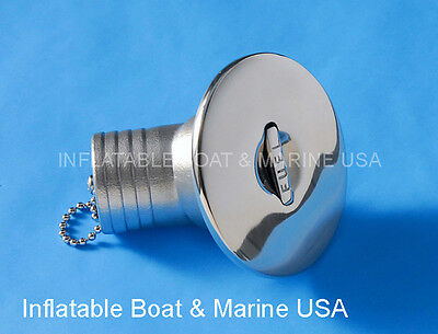 """Boat Deck Fill Filler Cap Keyless Angled 1-1/2"""" -Fuel Gas Marine Stainless Steel"""