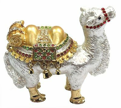 Camel Trinket Box Enamel Jewel Camel Decoration with Crystals, White Color