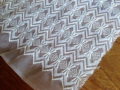 Vintage 1950s Embroidered Organza Lace Fabric 108 x 180cm
