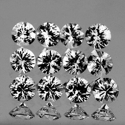 IF~[14 PIECES] ROUND 2.5mm BRILLIANT CUT WHITE SAPPHIRE NATURAL GEMSTONE CEYLON