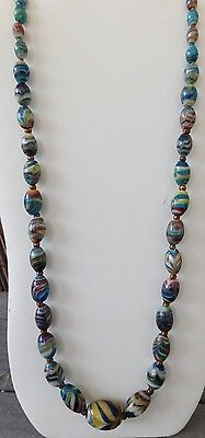 """SUPERB VINTAGE VENETIAN MURANO GLASS BEAD NECKLACE Blue Swirl Necklace 30"""" ~"""