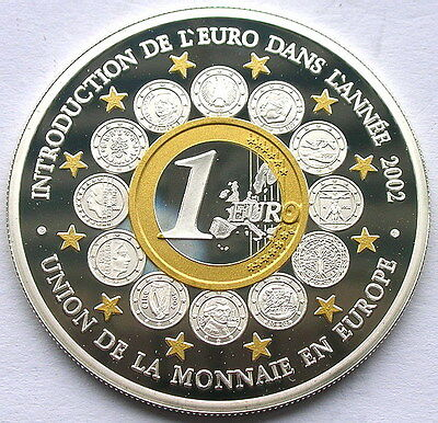 Benin 2002 Euro Coinage Gold Plared 1500 Francs Silver Coin,Proof