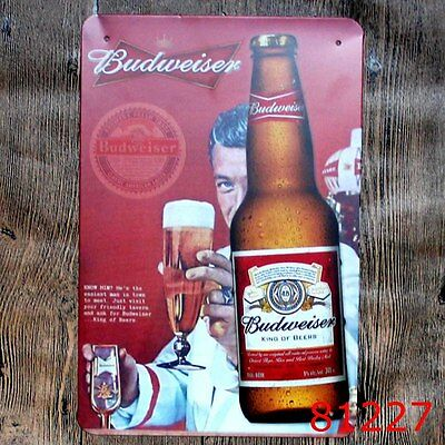Metal Tin Sign budweiser beer Bar Pub Vintage Retro Poster Cafe ART
