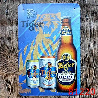 Metal Tin Sign tiger beer gold beer Bar Pub Vintage Retro Poster Cafe ART