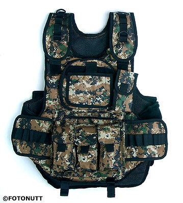 DIGITAL (ACU Styled) CAMO 4+1 TACTICAL VEST Paintball Harness