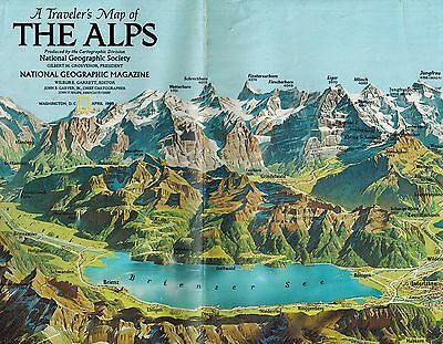 1985 Traveler's Map The Alps, National Geographic, NatGeo, European Mountains
