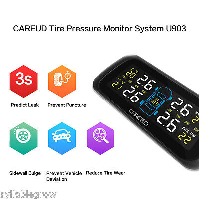 Auto Car/Vehicle Wireless TPMS LCD Tire Pressure Monitor System + 4 Sensors
