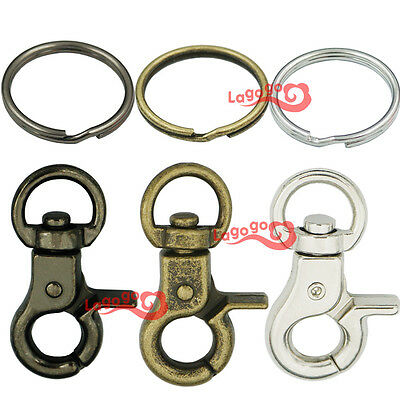 "32mm 1/4"" Trigger Snaps Swivel Clips 1"" 25mm keyring Keychain Snap Hook buckles"