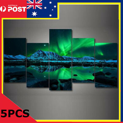 5PCS Wall Painting Green Blue Modern Aurora Borealis Art Picture Canvas Print AU