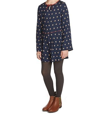 Fox Playsuit Girls Ex M&S Outfit Navy Brown Bow 5 - 13 Years Brand New