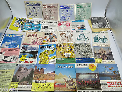 View-Master Lot of 30 Reel Lists, Packet Lists, Catalogs, Order Forms NO DUPS