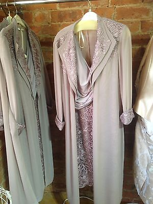 Mother of Bride Groom Wedding Party Formal Occasion Dress Suit Lace Taupe 16