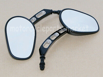 Pair Edge Cut Rearview Side Mirrors For Harley Sportster Touring Glide Dyna 8mm