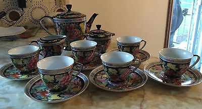 Chinese Porcelain Tea Set, Floral Design, Teapot, Creamer, Sugar Bowl And 6 Cups