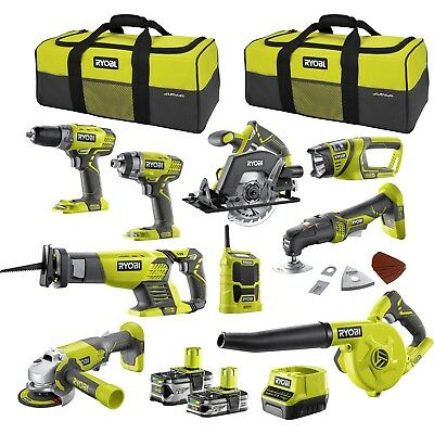 RYOBI 18V ONE+ 9 piece Mega Kit plus 2 carry bag value for money