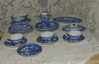 Vintage Blue Willow Transferware Child's Toy Dishes Tea Set 17 Pieces
