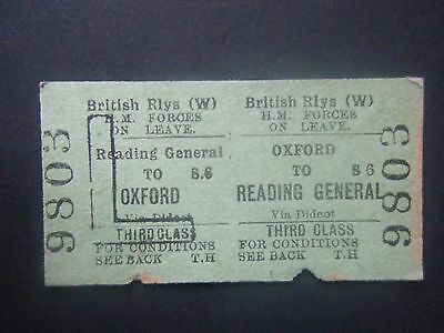GWR Forces on Leave Return Ticket Reading to Oxford
