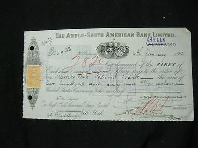 1921 Anglo South American Bank Cheque - Chillan With Chile Stamp