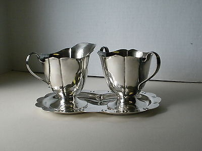 Vintage Sterling Silver Sugar And Creamer With Tray 3 Pc Set 12 Ozs