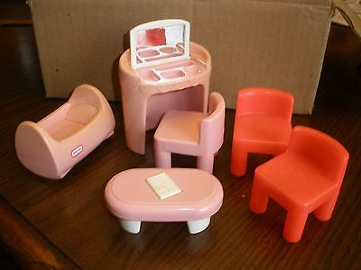 Vintage Little Tikes Dollhouse items  chairs, vanity, table