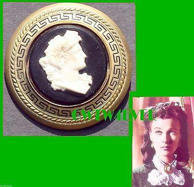 Vintage 1940 LUX soap SCARLETT O'HARA Cameo  BROOCH + news AD Gone With the Wind