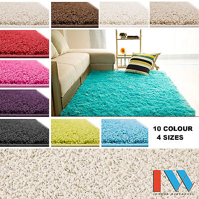 SHAGGY THICK SOFT 5cm PILE MODERN PLAIN RUGS SMALL EXTRA LARGE SIZE NON-SHED
