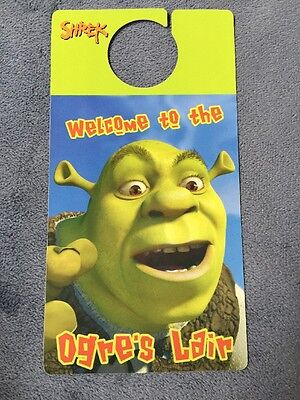 Shrek Door Hanger; Applause; 2 Sided Beware Of Ogre! Welcome To The Orge's Lair