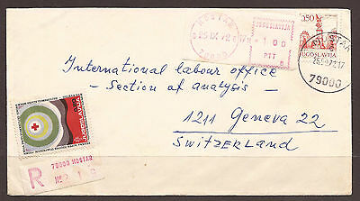 Yugoslavia / Bosnia. 1972. Pre Paid Label Uprating On Registered Cover. Mostar C