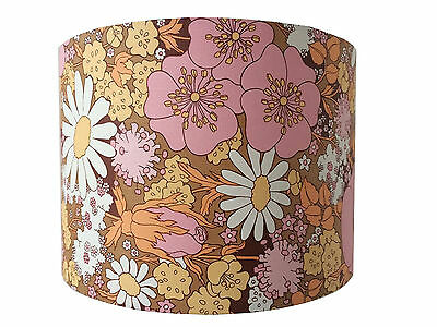 Handmade Lampshade made from Vintage Floral Wallpaper 30cm Retro FREE UK P&P