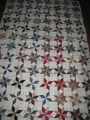 Vintage Antique Eight Pointed Star Quilt Top Late 1800's/Early 1900's