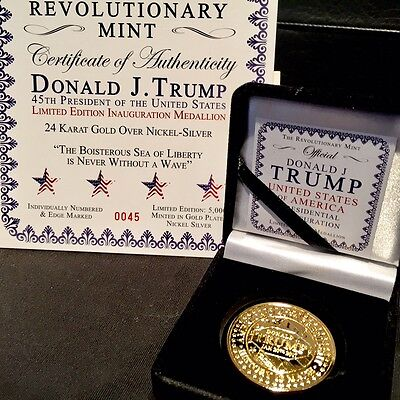 GOLD 2017 HISTORIC TRUMP INAUGURAL GOLD 1oz - Indiv Numbered, EDGE-MARKED!! A++