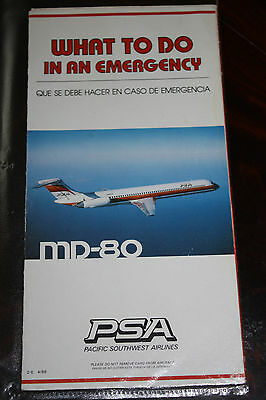 Safety Card Psa Pacific Southwest Airlines Mcdonnell Douglas Md-80