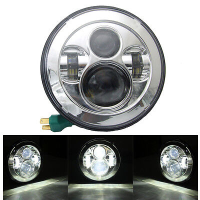 "7"" Inch Motorcycle LED Headlight Daymaker Projector DRL H4 Bulb Light For Harley"