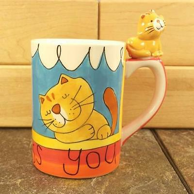 """Indra Fine Stoneware Hand Painted 3D Cat Handle """"Miss You"""" Coffee Mug Tea Cup"""