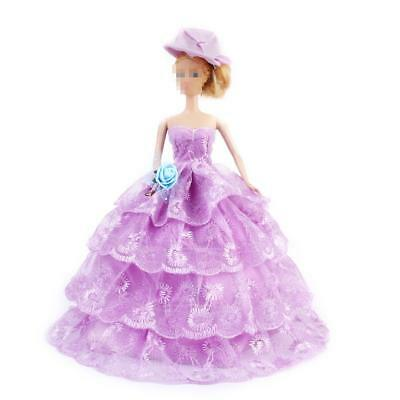Purple Wedding Party Princess Lace Dress Gown Clothes Outfit for Barbie Doll