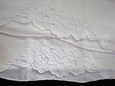 Excellent Set of 2 Vintage White on White Cutwork & Embroidered Rose Pillowcases