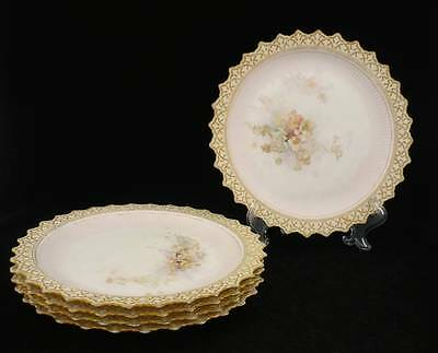 Doulton Burslem - 5 Cake/dessert Plates - Hand Painted Flowers - Antique