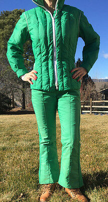 SPORTCASTER Retro Womens TWO Piece Ski Snow Board Suit BIB DOWN Medium GREEN