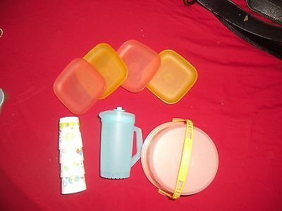 Tupperware Kids Tuppertoys Part Set Pitcher Cake Holder Plates Cups