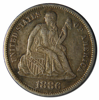 1886 Love Token Seated Dime10¢ Coin Lot# MZ 3675
