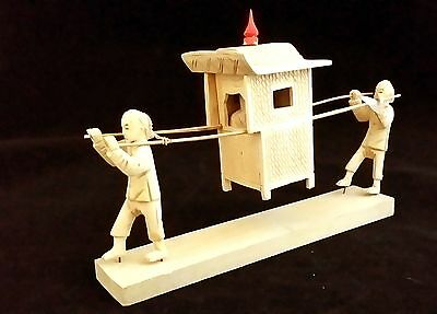 Carved Sandalwood Miniature of Chinese Palanquin with Passenger and Two Pullers