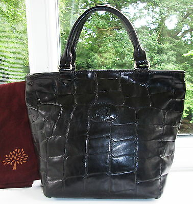 Authentic Vintage Mulberry Black Congo Leather Hellier Hand Grab Bag & Dustbag