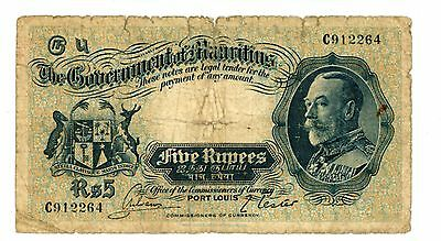 Mauritius ... P-20 ... 5 Rupees ... ND(1930) ... *VG*