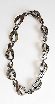 Vintage Mexican Sterling Silver Choker Necklace Heavy Gage Eagle 3 Taxco Signed